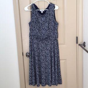 Navy blue floral mid calf dress sz 14